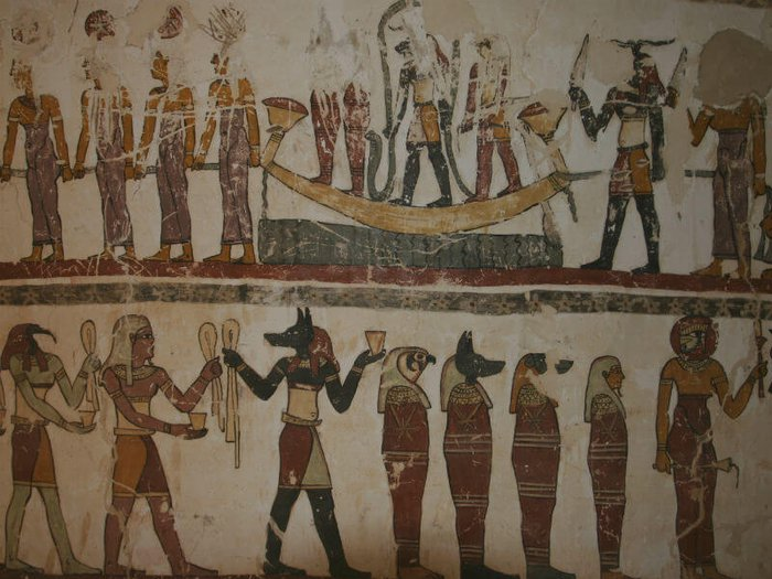 Ancient Egyptian painting showing funeral rituals