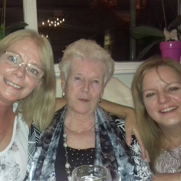 Donna and Wendy, with Edna, celebrating her 90th birthday at The White Hart where we took her for dinner