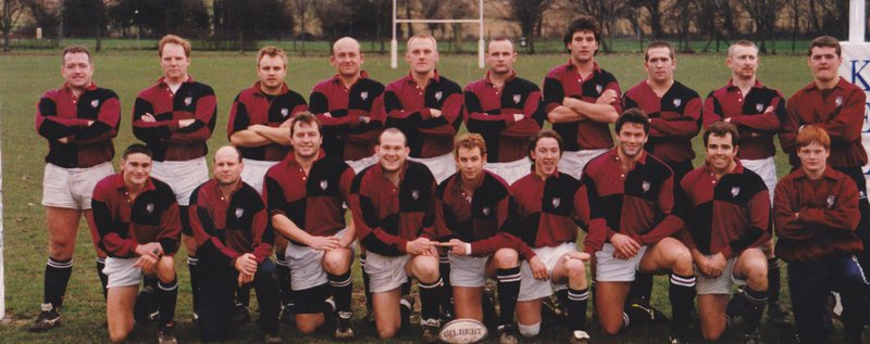 Beccehamian RFC 1st XV squad c.1997. Chris top left. Chris was an absolute gentleman of the very highest calibre and we will dearly miss his friendship, humour & kindness.
